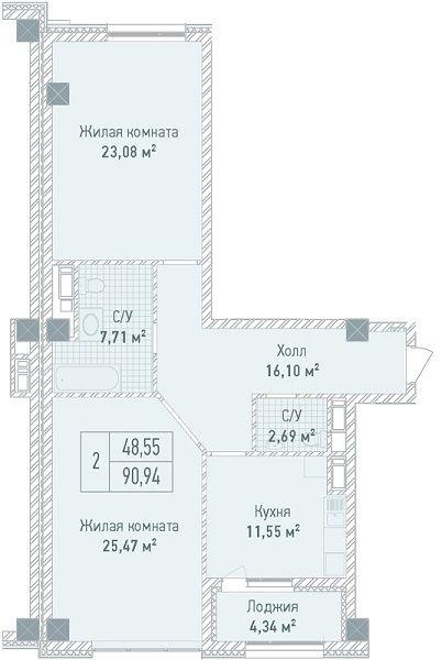 ЖК Бульвар Фонтанов: планировка 2-комнатной квартиры 90.94 м2, тип 2-90.94