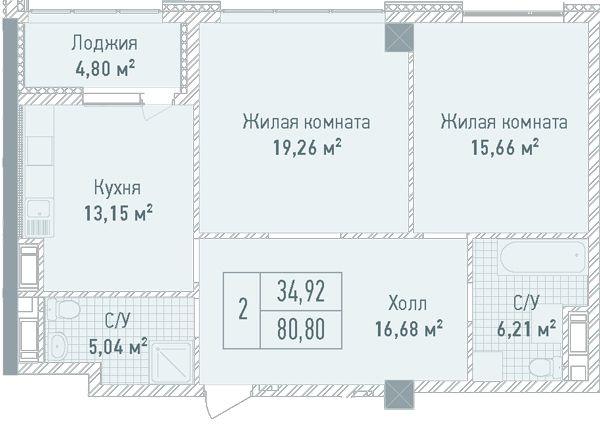 ЖК Бульвар Фонтанов: планировка 2-комнатной квартиры 80.8 м2, тип 2-80.80