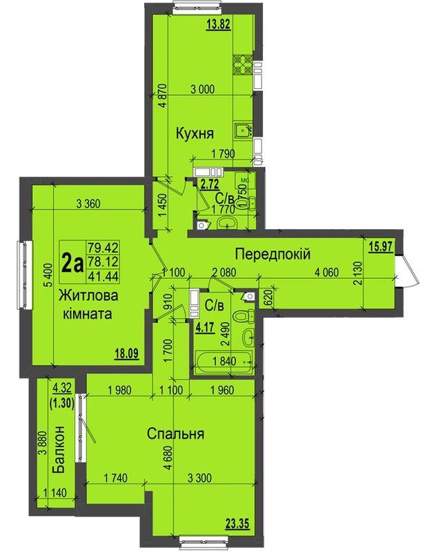 ЖК Кришталеві джерела: планировка 2-комнатной квартиры 79.42 м2, тип 2а