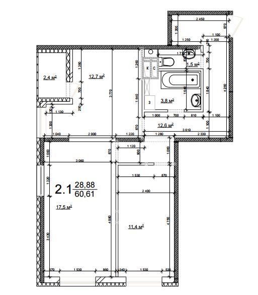 ЖК Грюнвальд: планировка 2-комнатной квартиры 60.61 м2, тип 2.1