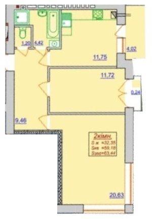 ЖК Квартал Лемковский: планировка 2-комнатной квартиры 63.44 м2, тип 2-63.44