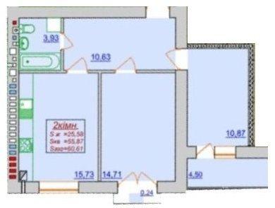 ЖК Квартал Лемковский: планировка 2-комнатной квартиры 60.61 м2, тип 2-60.61