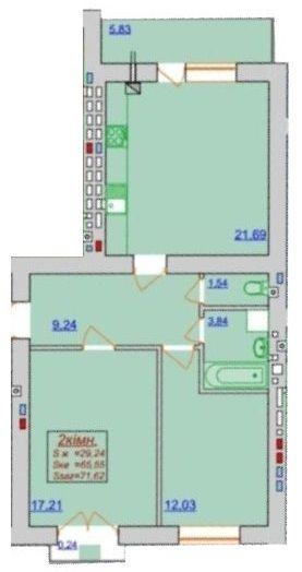 ЖК Квартал Лемковский: планировка 2-комнатной квартиры 71.62 м2, тип 2-71.62