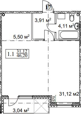 ЖК Грюнвальд: планування 1-кімнатної квартири 46.2 м2, тип 1-46.2
