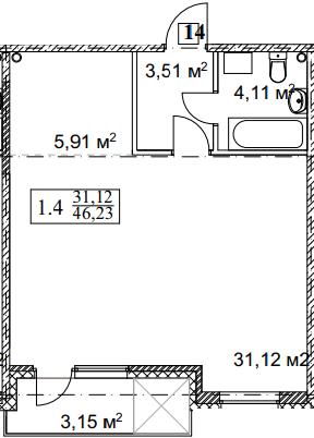 ЖК Грюнвальд: планування 1-кімнатної квартири 46.23 м2, тип 1-46.23
