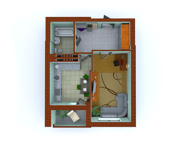 ЖК Столичні каштани: планування 1-кімнатної квартири 42.2 м2, тип 1-П