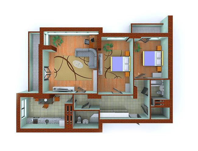 ЖК Столичні каштани: планування 3-кімнатної квартири 100.76 м2, тип 3-Ж