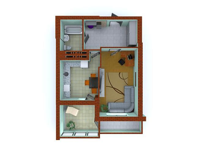 ЖК Столичні каштани: планування 1-кімнатної квартири 50.65 м2, тип 1-Т
