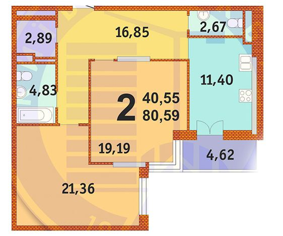 ЖК Французький квартал: планування 2-кімнатної квартири 80.59 м2, тип 2-80.59