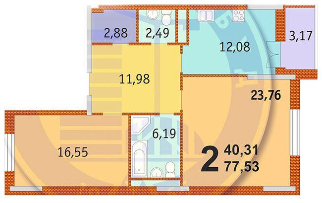 ЖК Французский квартал: планировка 2-комнатной квартиры 77.53 м2, тип 2-77.53