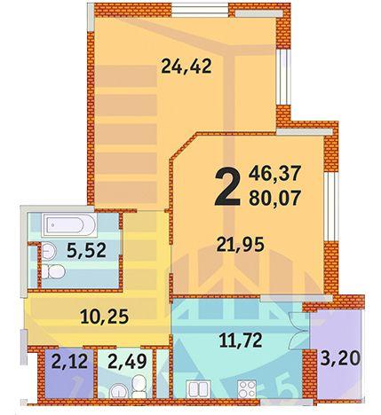 ЖК Французький квартал: планування 2-кімнатної квартири 80.07 м2, тип 2-80.07