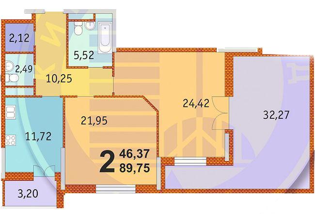 ЖК Французький квартал: планування 2-кімнатної квартири 89.75 м2, тип 2-89.75