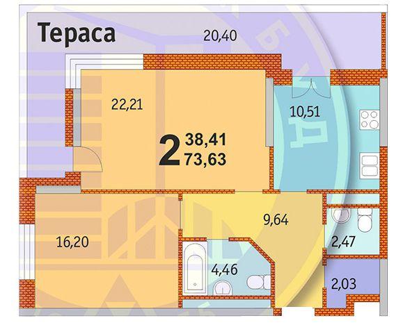 ЖК Французький квартал: планування 2-кімнатної квартири 73.63 м2, тип 2-73.63
