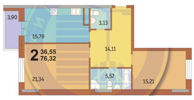 ЖК Французький квартал: планування 2-кімнатної квартири 76.32 м2, тип 2-76.32