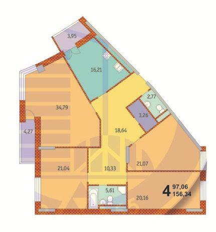 ЖК Французький квартал: планування 4-кімнатної квартири 156.34 м2, тип 4-156.34