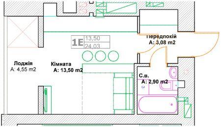 ЖК Фортуна-2: планировка 1-комнатной квартиры 24.03 м2, тип 1Е