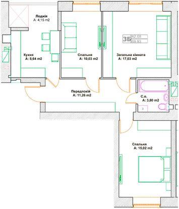 ЖК Фортуна-2: планировка 3-комнатной квартиры 69.93 м2, тип 3А