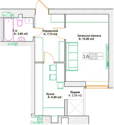 ЖК Фортуна-2: планировка 1-комнатной квартиры 38.66 м2, тип 1А