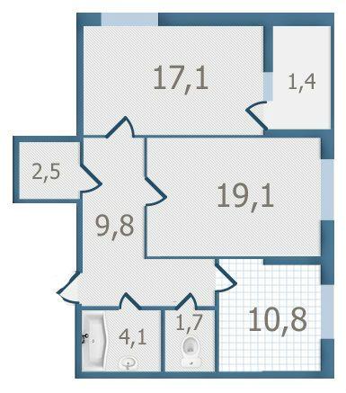 ЖК Старокиевский: планировка 2-комнатной квартиры 66.5 м2, тип 2-66.5