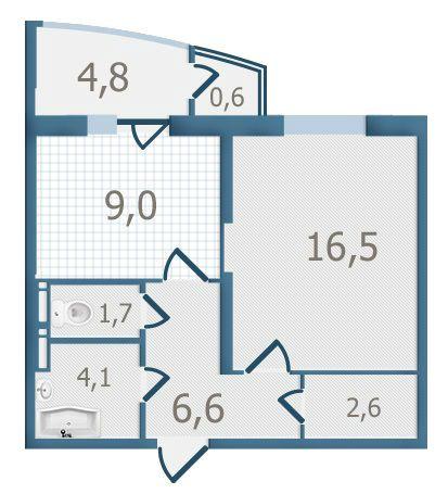 ЖК Старокиевский: планировка 1-комнатной квартиры 45.9 м2, тип 1-45.9