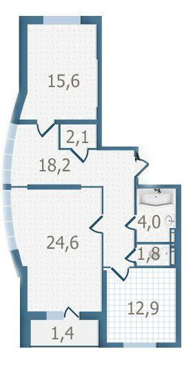 ЖК Старокиевский: планировка 2-комнатной квартиры 80.6 м2, тип 2-80.6