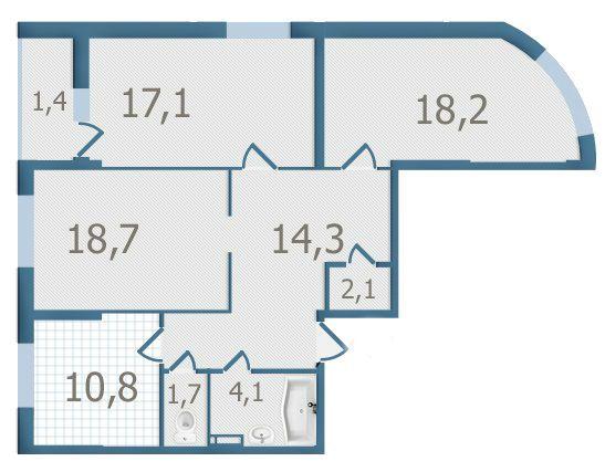 ЖК Старокиевский: планировка 3-комнатной квартиры 88.4 м2, тип 3-88.4
