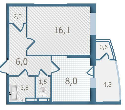 ЖК Старокиевский: планировка 1-комнатной квартиры 42.8 м2, тип 1-42.8
