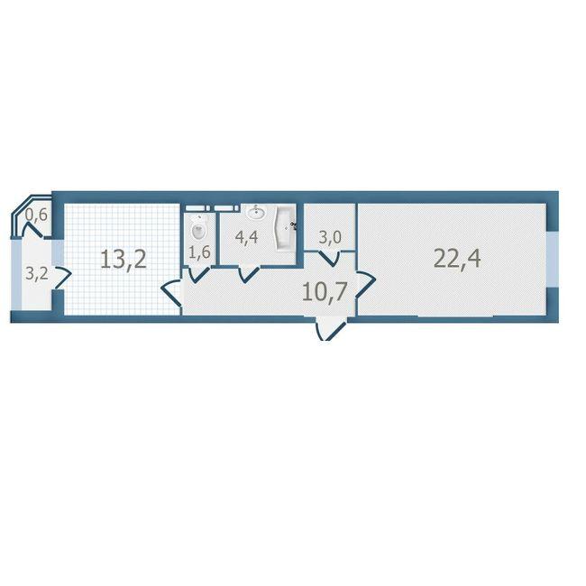 ЖК Старокиевский: планировка 1-комнатной квартиры 59.1 м2, тип 1-59.1