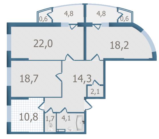 ЖК Старокиївський: планування 3-кімнатної квартири 102.7 м2, тип 3-102.7