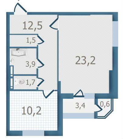 ЖК Старокиевский: планировка 1-комнатной квартиры 57 м2, тип 1-57.0