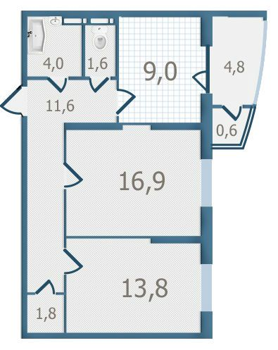 ЖК Старокиевский: планировка 2-комнатной квартиры 64.1 м2, тип 2-64.1