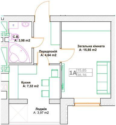 ЖК Фортуна-2: планировка 1-комнатной квартиры 35.76 м2, тип 1А
