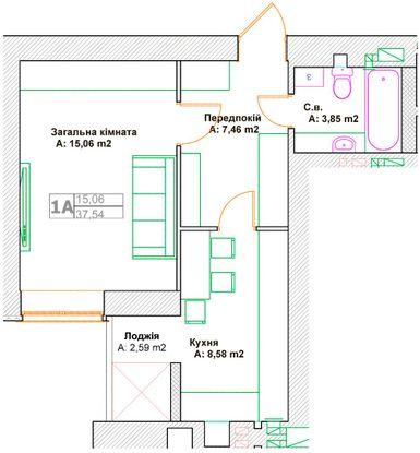 ЖК Фортуна-2: планировка 1-комнатной квартиры 37.54 м2, тип 1А