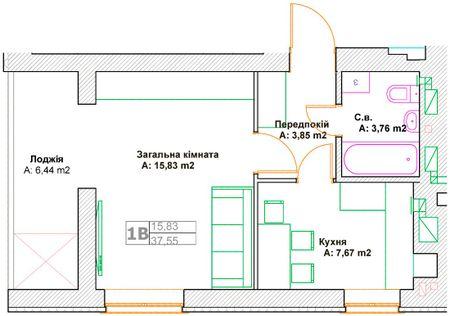 ЖК Фортуна-2: планировка 1-комнатной квартиры 37.55 м2, тип 1В