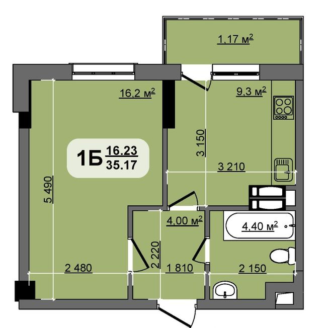 ЖК Бруклін: планування 1-кімнатної квартири 35.17 м2, тип Florida