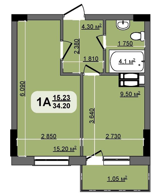ЖК Бруклін: планування 1-кімнатної квартири 34.2 м2, тип Michigan
