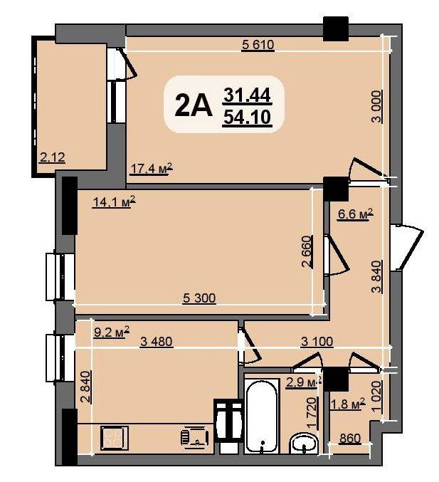 ЖК Бруклин: планировка 2-комнатной квартиры 54.1 м2, тип Californiya