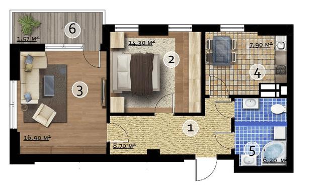 ЖК Бруклін: планування 2-кімнатної квартири 55.64 м2, тип Washington