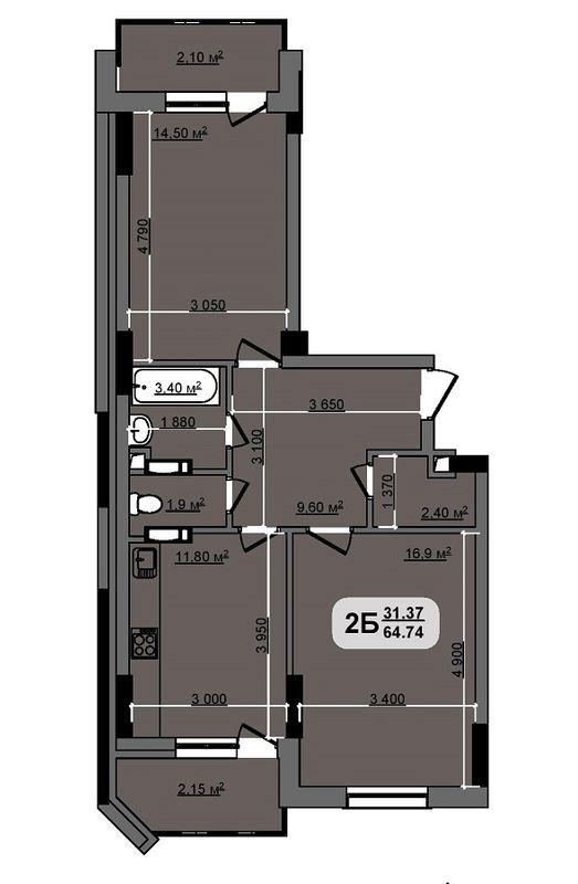 ЖК Бруклин: планировка 2-комнатной квартиры 64.74 м2, тип Georgia