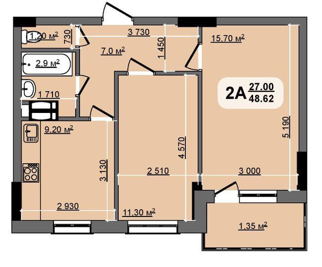 ЖК Бруклін: планування 2-кімнатної квартири 48.62 м2, тип Kentucky