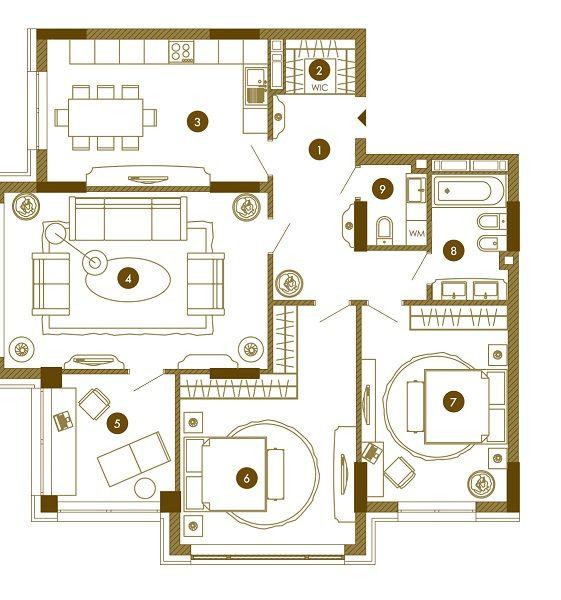 ЖК Obolon Residences: планировка 4-комнатной квартиры 115.32 м2, тип 4-115.32