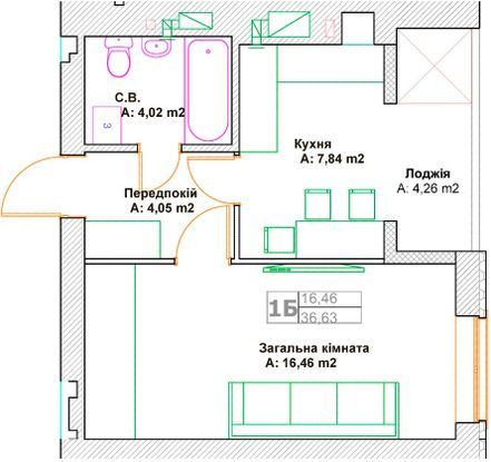 ЖК Фортуна-2: планировка 1-комнатной квартиры 36.63 м2, тип 1Б