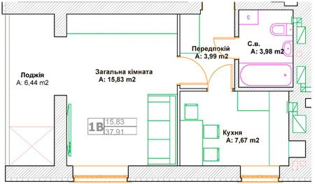 ЖК Фортуна-2: планировка 1-комнатной квартиры 37.91 м2, тип 1В