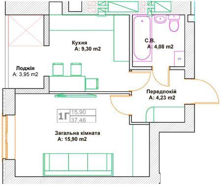 ЖК Фортуна-2: планировка 1-комнатной квартиры 37.46 м2, тип 1Г