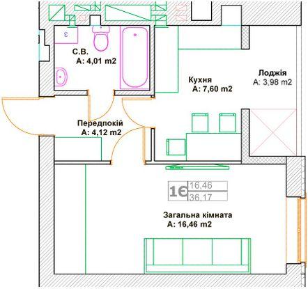 ЖК Фортуна-2: планировка 1-комнатной квартиры 36.17 м2, тип 1Є
