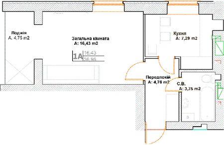 ЖК Фортуна-2: планировка 1-комнатной квартиры 36.96 м2, тип 1А
