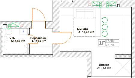 ЖК Фортуна-2: планировка 1-комнатной квартиры 27.7 м2, тип 1Г