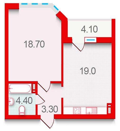 ЖК Шевченковский: планировка 1-комнатной квартиры 49.5 м2, тип 1.4