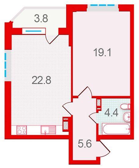 ЖК Шевченковский: планировка 1-комнатной квартиры 55.7 м2, тип 1.3