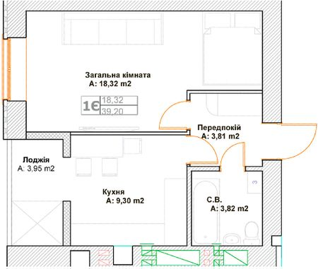 ЖК Фортуна-2: планировка 1-комнатной квартиры 39.2 м2, тип 1Є